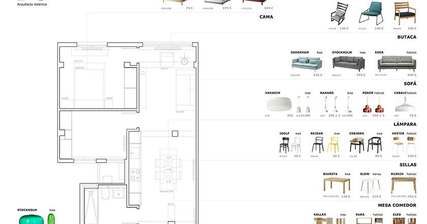 Interiorismo para apartamento en russafa valencia dg - Trabajo arquitecto valencia ...