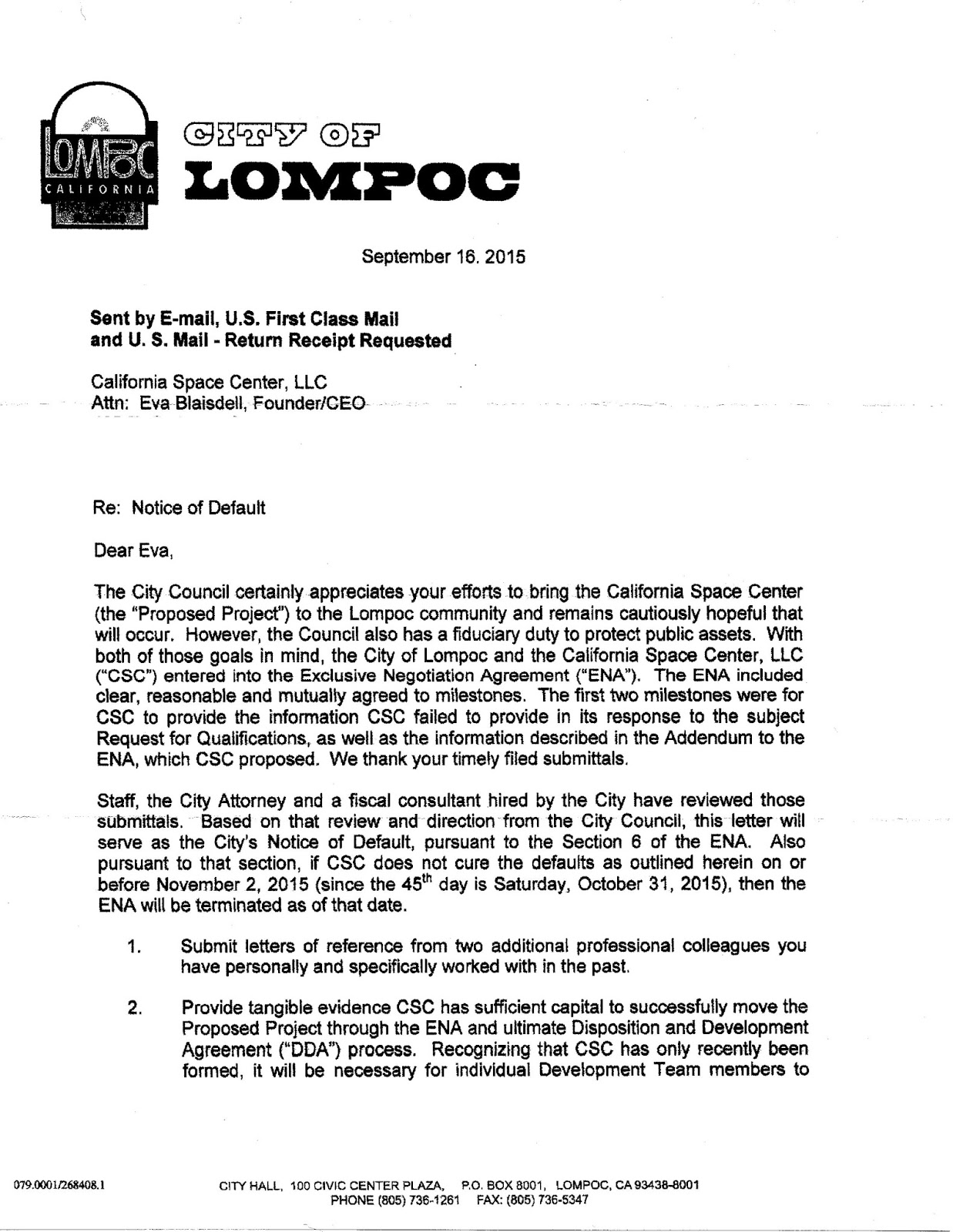 lompoc gadfly csc city notice of default letter and csc response