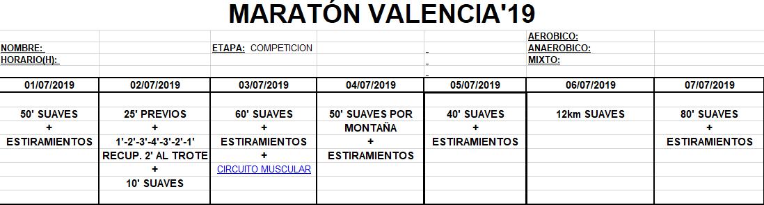 Entreno Maratón Valencia'19