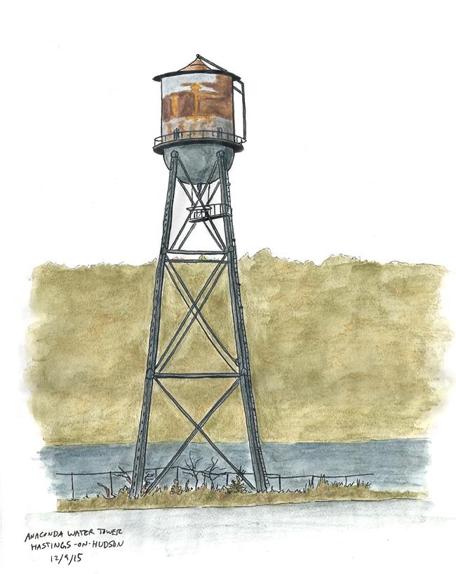 Chris Brown\'s Sketch House: Anaconda Water Tower - Hastings-on-Hudson