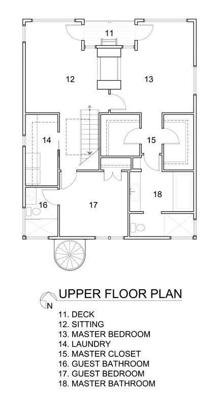 Upper floor plan of the floating home