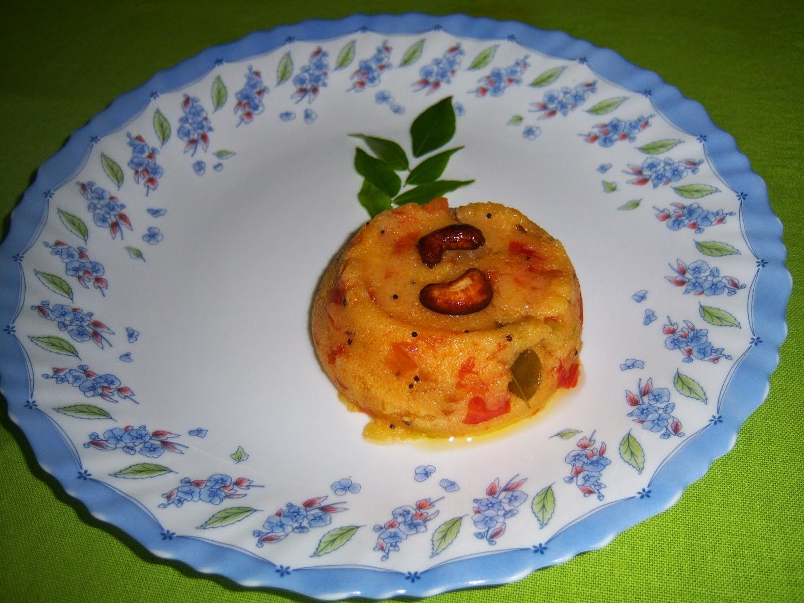Tomato Upma -- Tomato Bath Upma Recipe