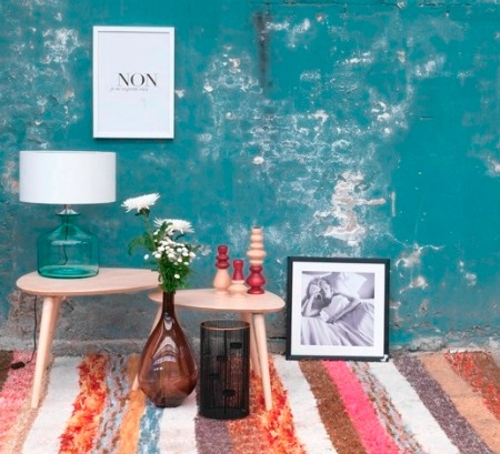 teal blue rough walls