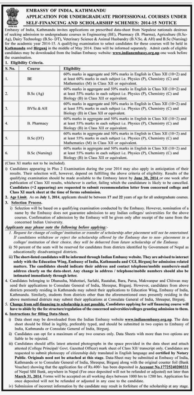 Embassy of India, Kathmandu Application for Undergraduate Professional
