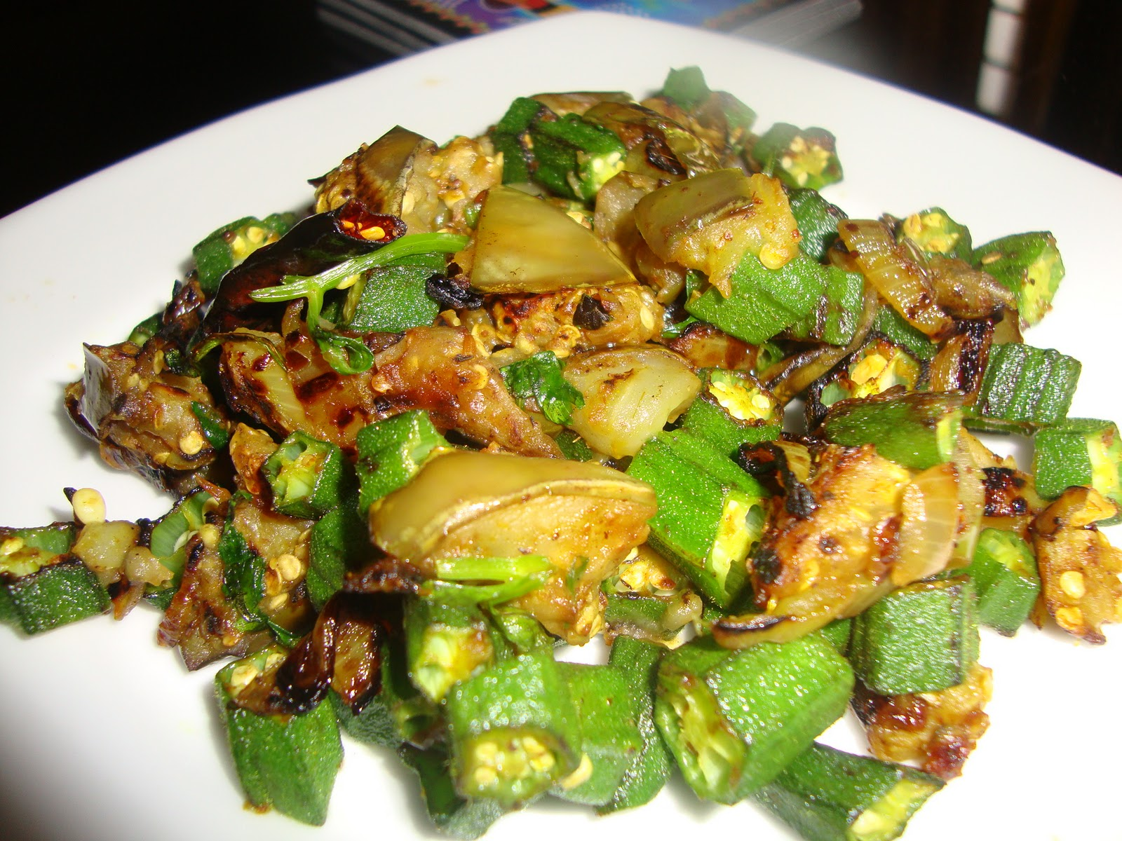 Cooking Delights: Eggplant with okra