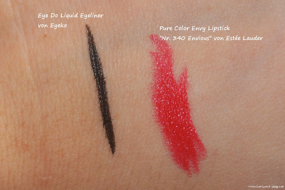 Swatches vom  Eyeko Eye Do Liquid Eyeliner und dem Estée Lauder Pure Color Envy Lipstick in der Farbe 340 Envious aus der Douglas-Box-Of-Beauty für Oktober 2014 mit dem Thema Red Carpet.