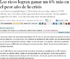 LOS RICOS GANAN UN 6% MS EN EL PEOR AO DE LA CRISIS.