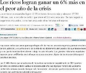LOS RICOS GANAN UN 6% MÁS EN EL PEOR AÑO DE LA CRISIS.