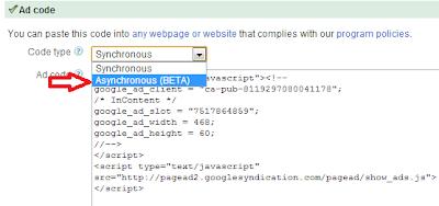 Asynchronous ad code