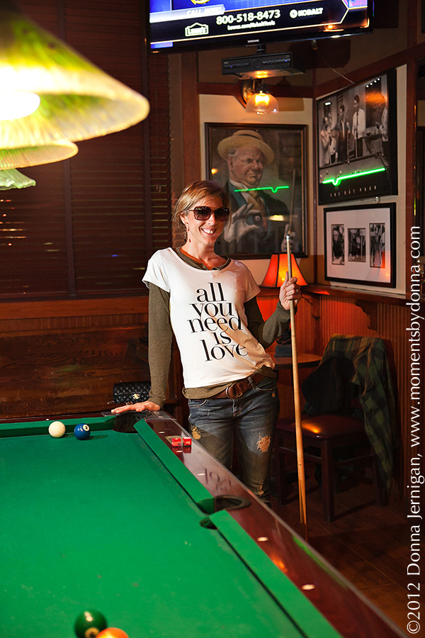 ASOS All You Need Is Love T-shirt, Zara ripped jeans, Charlie 1 Horse cowboy boots, Chanel quilted purse, Gap T-Shirt, Thomas St. Tavern, the Queen City Style, Blinde Natural Born Thriller Sunglasses, Tiffany Interlocking Circles Ring, Moments by Donna, Donna Jernigan Photography, Inc., Charlotte NC Pool Hall
