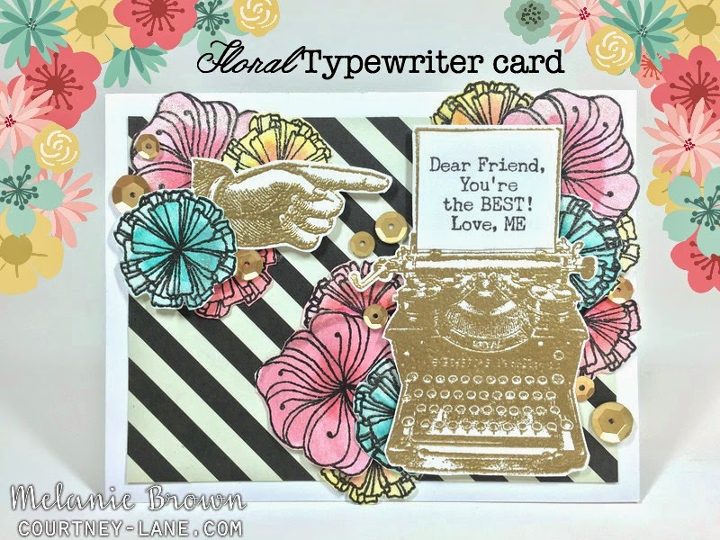 Floral Typewritter card
