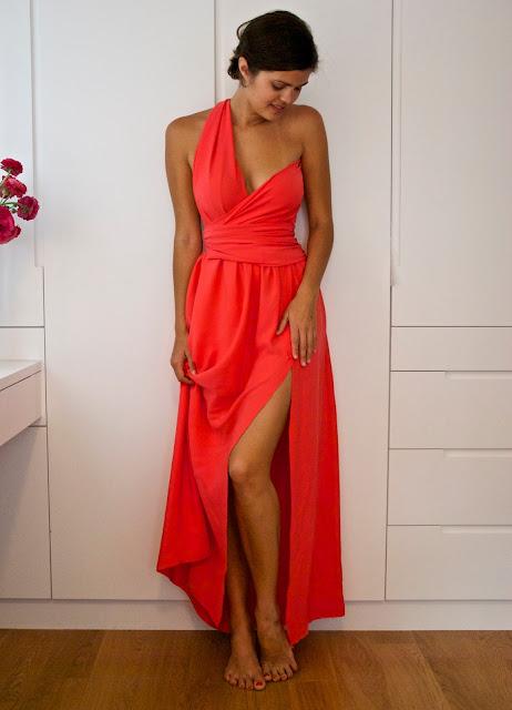 DYI Side split wrapped bodice dress