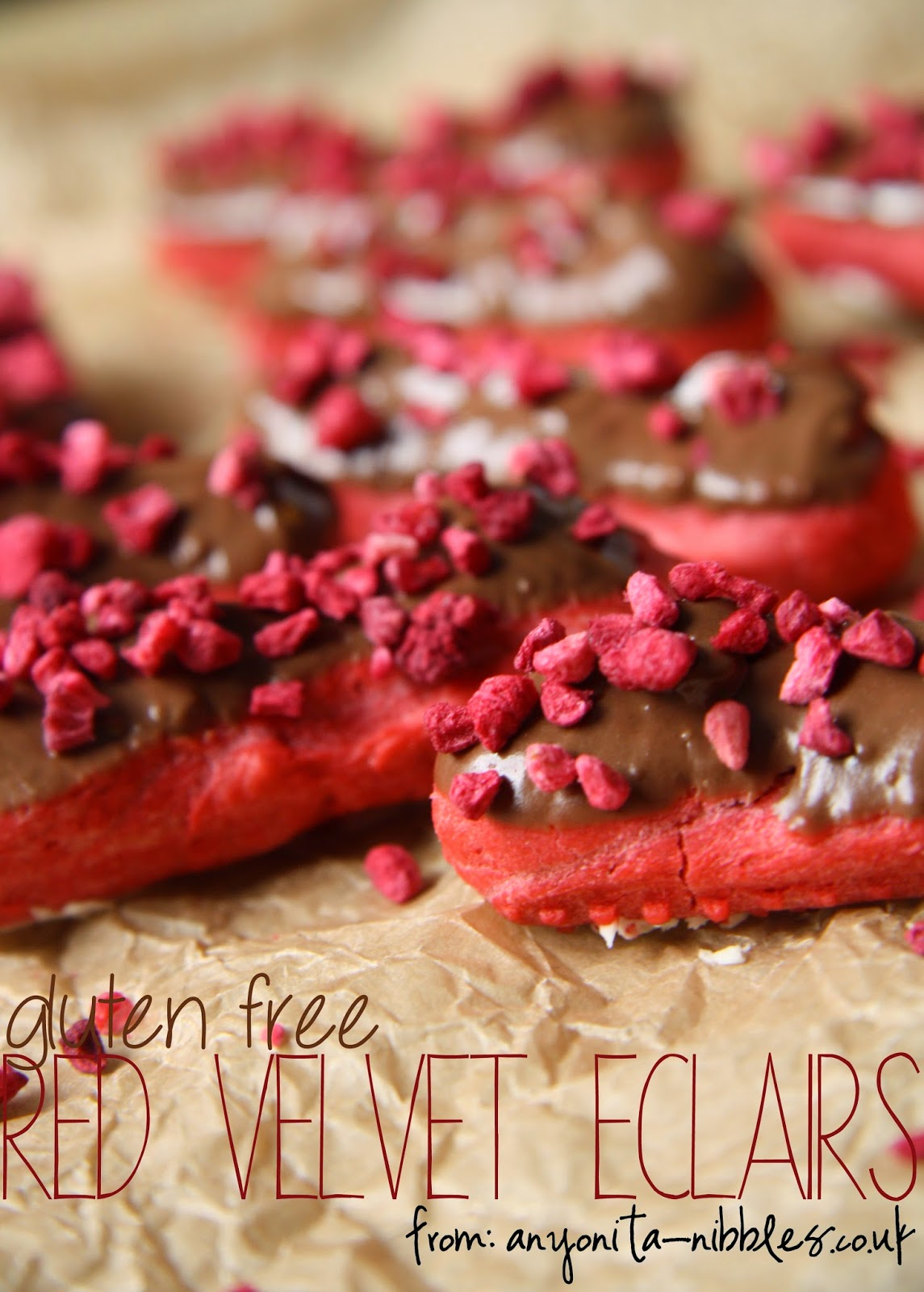 Gluten Free Red Velvet Eclairs with Raspberry from Anyonita-nibbles.co.uk