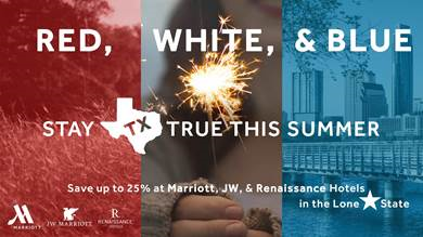 Save up to 25% on Marriott, JW, and Renaissance Hotel Weekend Stays from Memorial Day to Labor Day in Texas
