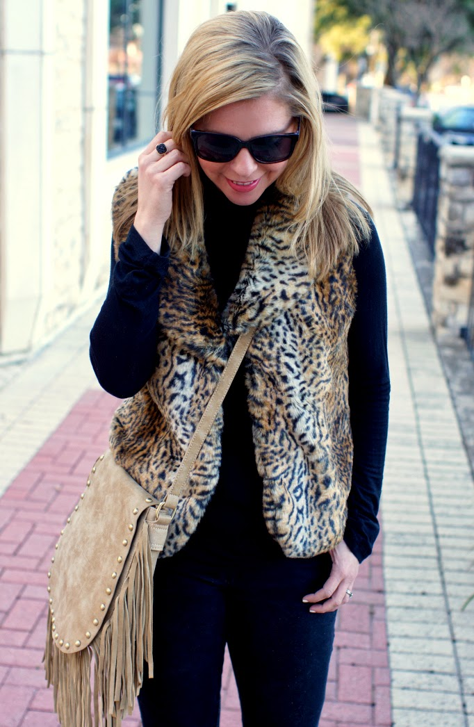 Black and leopard vest