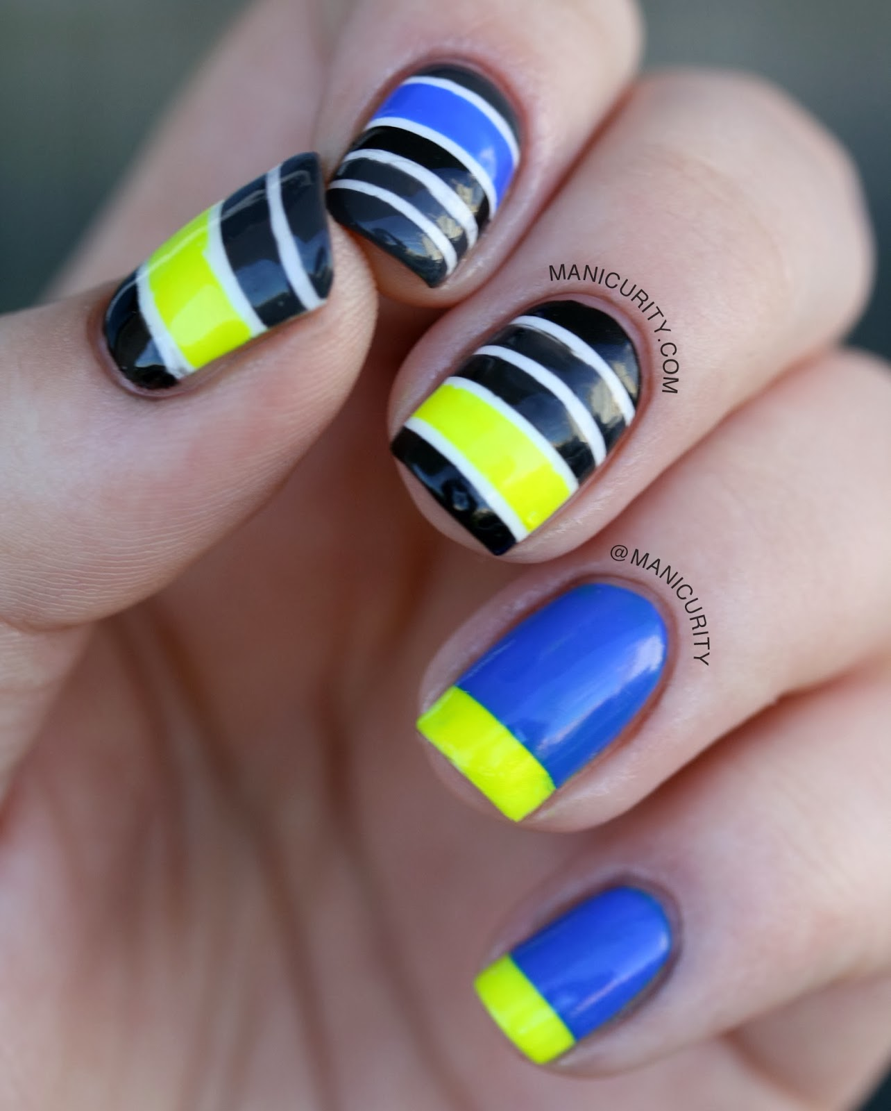 Manicurity: Neon Stripe Mish-Mash Nails inspired by Work Play Polish