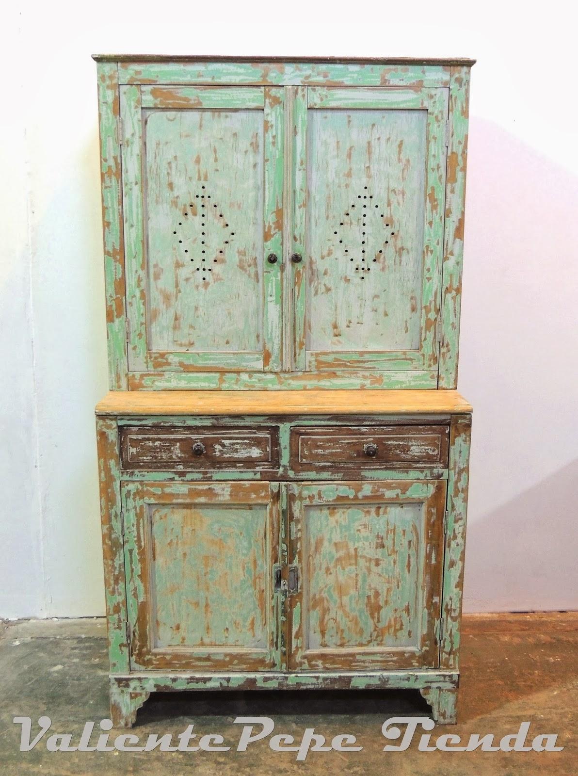 Antiguo mueble de campo con alzada shabby chic valiente pepe - Tiradores para muebles antiguos ...