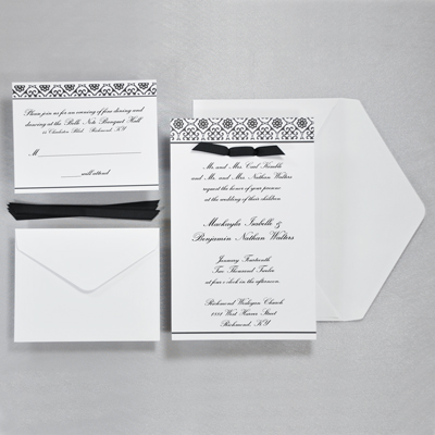 Black White Damask Invitations Kit