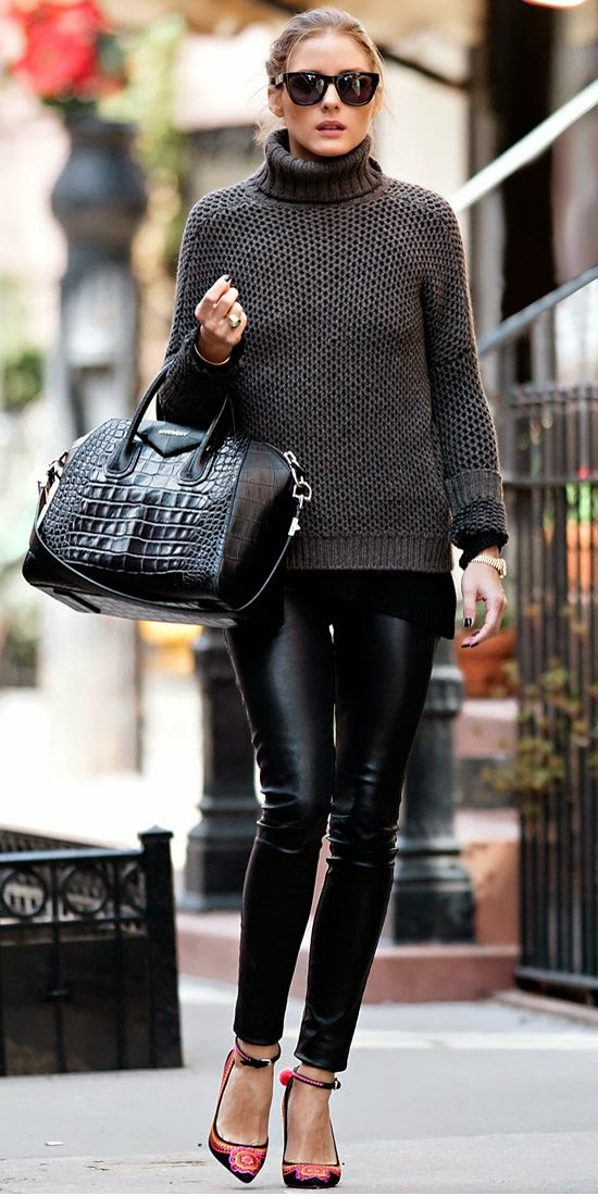 Black Chunky Sweater With Leather Leging  And  Embroidered Ankle-Strap Heel