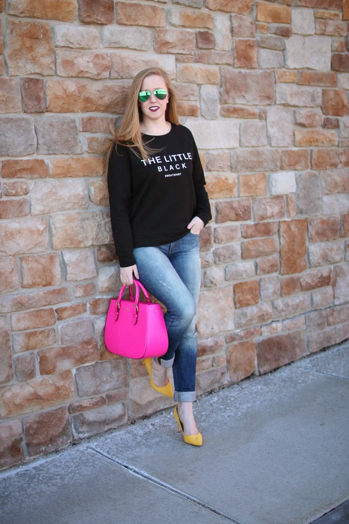 blogger fashion boston, little black sweatshirt, banana republic factory, boston fashion blogger, style blog, yellow heels, kate spade charlotte street sylvie satchel, pink kate spade satchel, little black sweatshirt, on the blog, blogger style