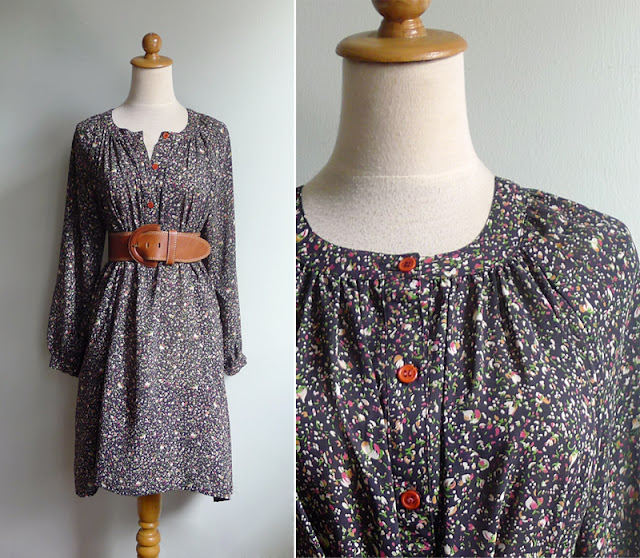 retro poet floral dress