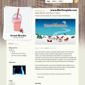 Sweet Breaks Blogger Template.