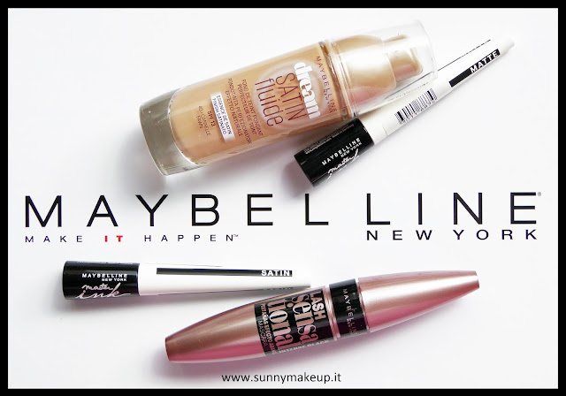 Maybelline New York: fondotinta Dream Satin Fluide, eyeliner Master Ink, mascara Ciglia Sensazionali Intense Black.