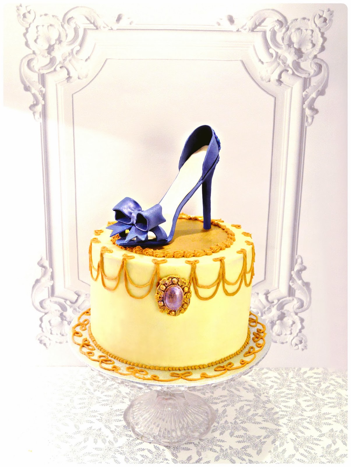 Blue High Heel Shoe with Bow and Jewel Cake   Chérie Kelly