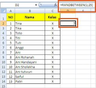 Fungsi Randbetween pada ms Excel