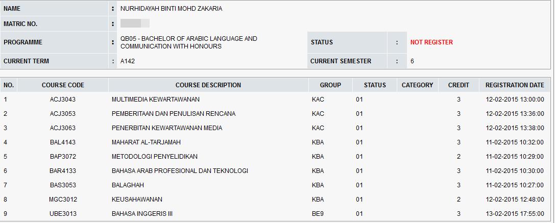 Subjek Killer Semester 6, fpbu, usim, tahun 3, adkdayah, bahasa arab dan komunikasi