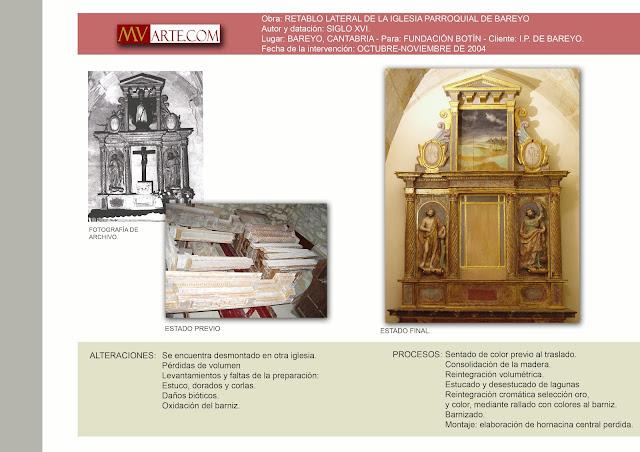 Restauración del retablo renacentista de la IP de Bareyo, Cantabria.