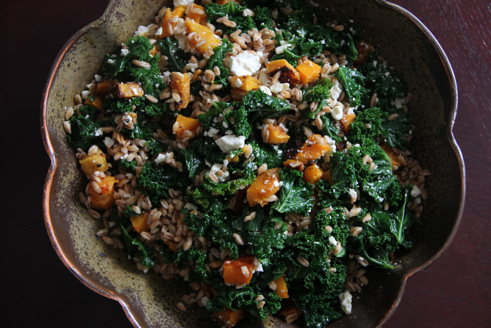 Life By Appointment: Farro Salad with Butternut Squash, Kale, and Feta
