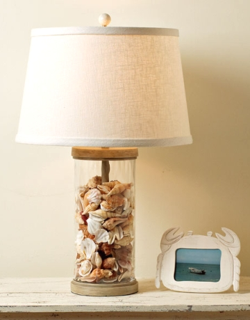 lamp filled with seashells