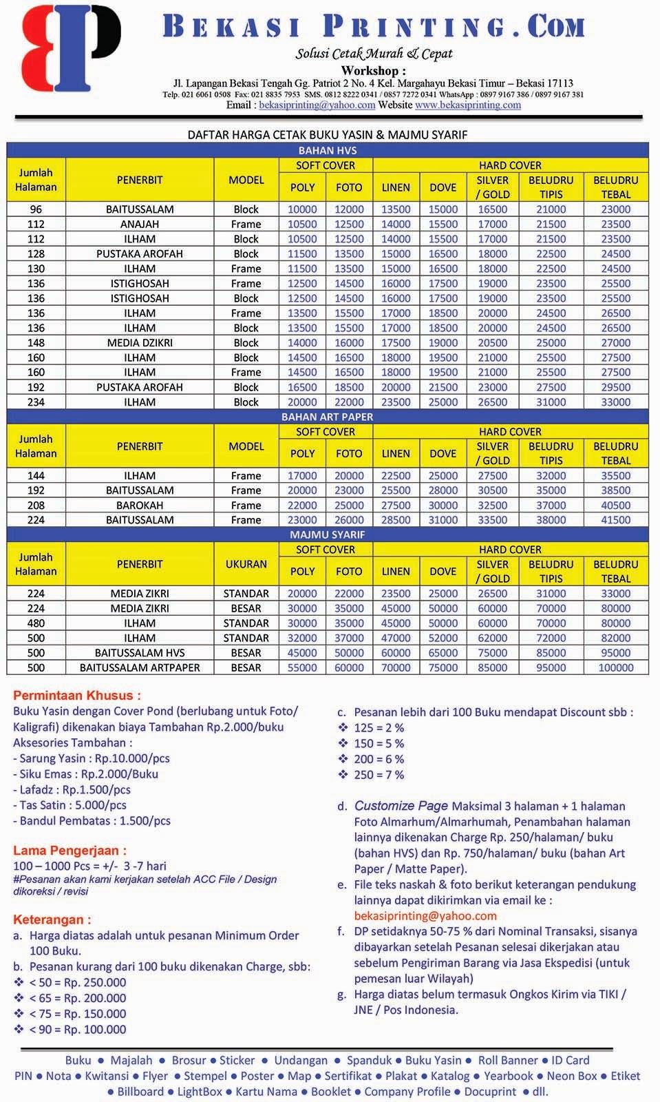 Daftar Harga cetak Yasin & Majmu Syarif