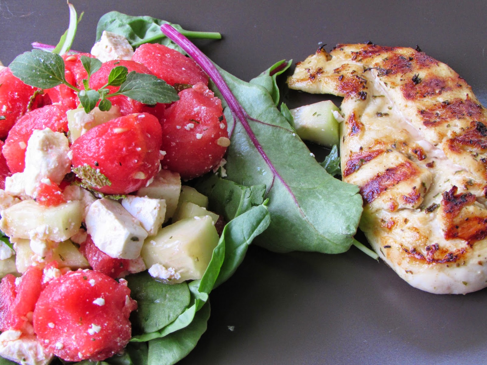 Marinated Grilled Chicken With Watermelon Feta Salad