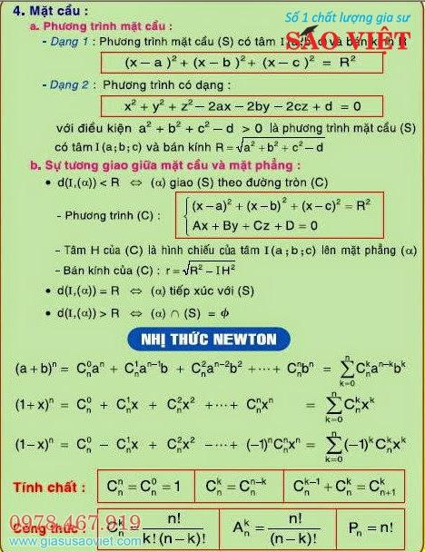 Bài học từ gia sư lớp 12 Sao Việt về mặt cầu (Phương trình, sự tương giao giữa mặt cầu và mặt phẳng) và công thức nhị thức Newton trong kiến thức toán cơ bản sách giáo khoa 12. Đây là một chuyên đề trọng tâm có trong đề thi Đại Học.