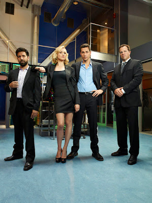 Chuck Season 5 Cast Photo - Joshua Gomez as Morgan Grimes, Yvonne Strahovski as Sarah Walker, Zachary Levi as Chuck Bartowski & Adam Baldwin as John Casey