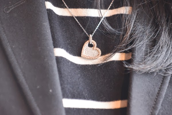 Swarovski Amorous pendant styled with sailor stripe sweater