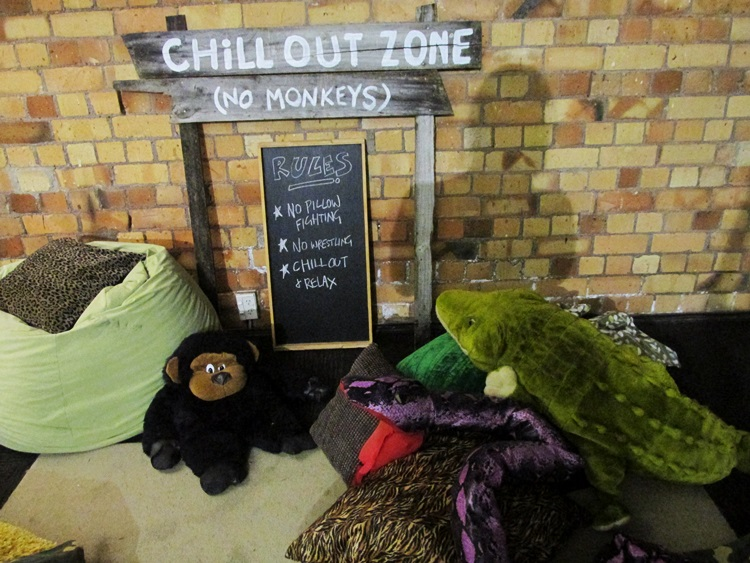 Chill out zone with bean bags and cushions