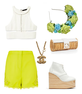 summer uk fashion style, beach outfit, chic, bright lime green shorts with white crop top, gold chanel necklace, very vintage styled with roses and clementines floral crown, lime green roses with light blue and green rose headband, styled with white nasty gal shoes with wooden wedges, cool white lace up boots, wicker basket clutch