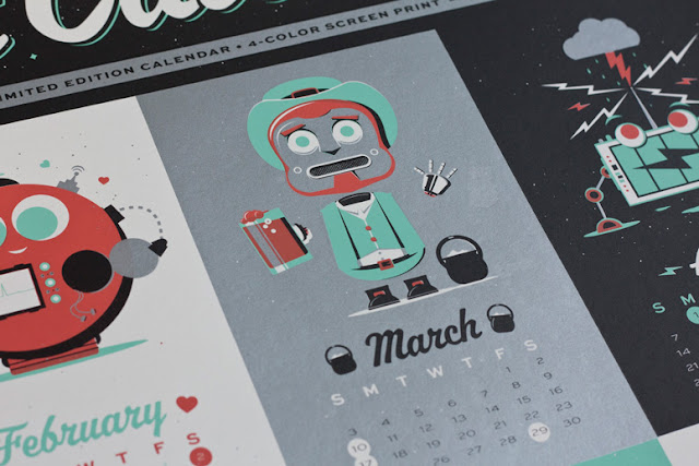 picture of robot leprechaun holding over calendar for march
