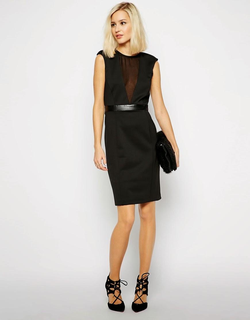 mesh panel v neck dress, black dress with deep plunge neck,