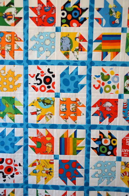 Close up Dr. Seuss Fabric - Bear Paw pattern by Luna Quilts