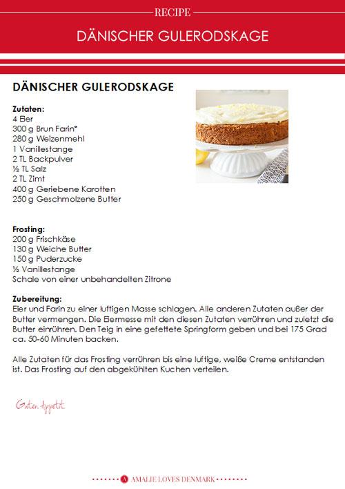 Amalie loves Denmark Dänischer Gulerodskage - Karottenkuchen Rezept