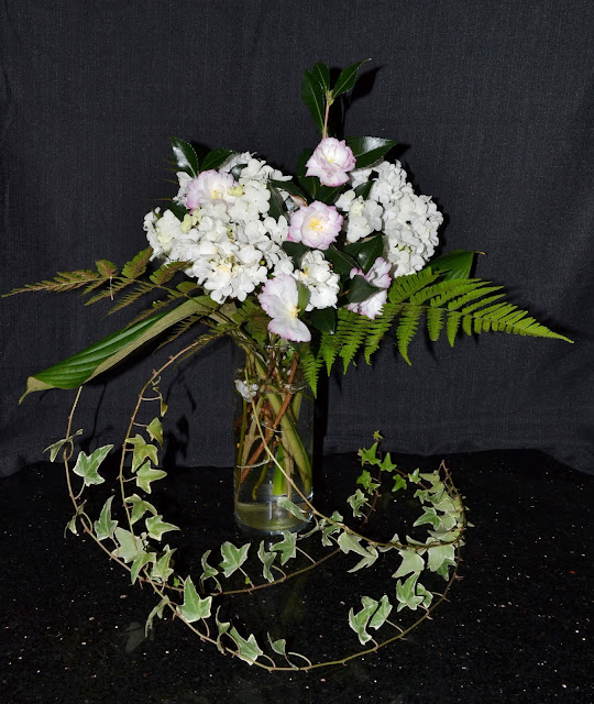 all bouquet, camellia, autumn fern, variegated ivy, http://growingdays.blogspot.com