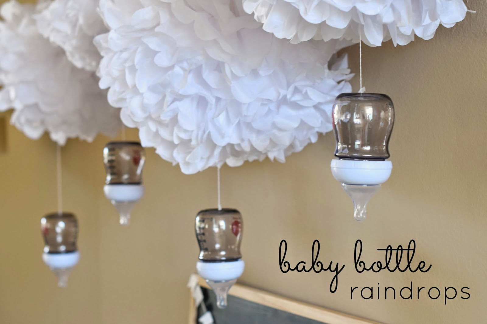 Easy Baby Sprinkle party setup, Easy baby sprinkle decor, Clouds and rain baby sprinkle, clouds and rain baby shower decor, Joovy Boob botttles, Celebrate Express