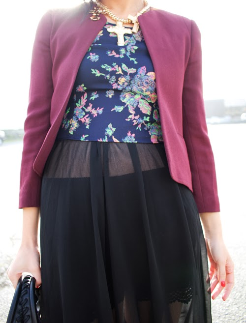 Vancouver fashion blogger Jasmine Zhu wearing oxblood suit jacket and floral crop top sheer maxi skirt