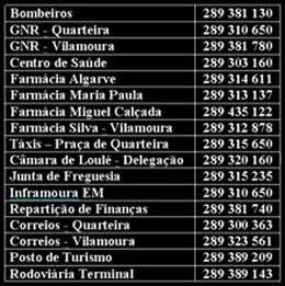 ~~~~ TELEFONES ÚTEIS DE QUARTEIRA ~~~~