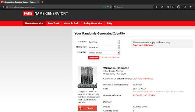 Fake Name Generator - Mas Devz
