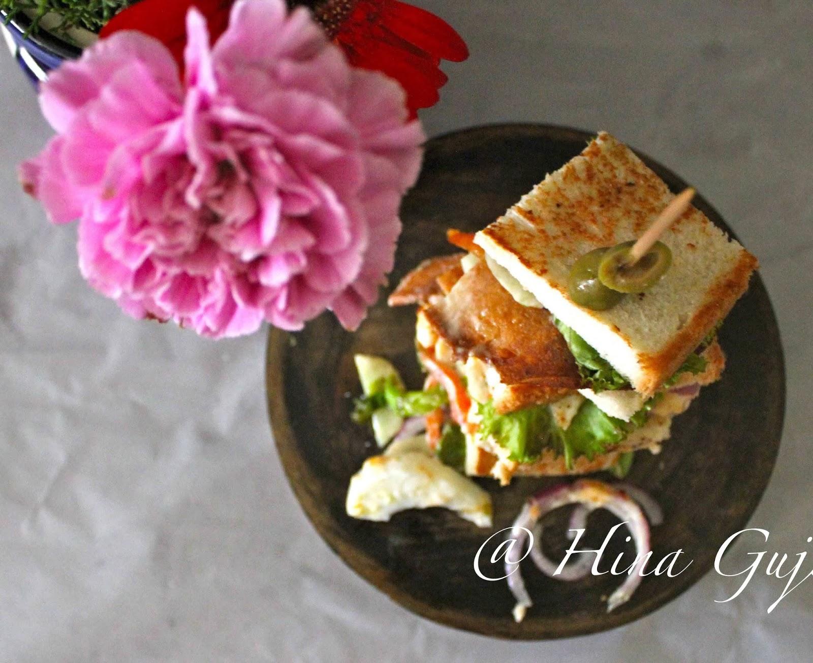 Chicken Salami Club Sandwich